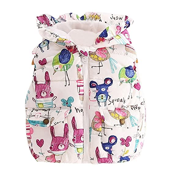 TM Elevin Baby Kids Girls Graffiti Hooded Jackets Princess Thick Warm Waistcoat Coat