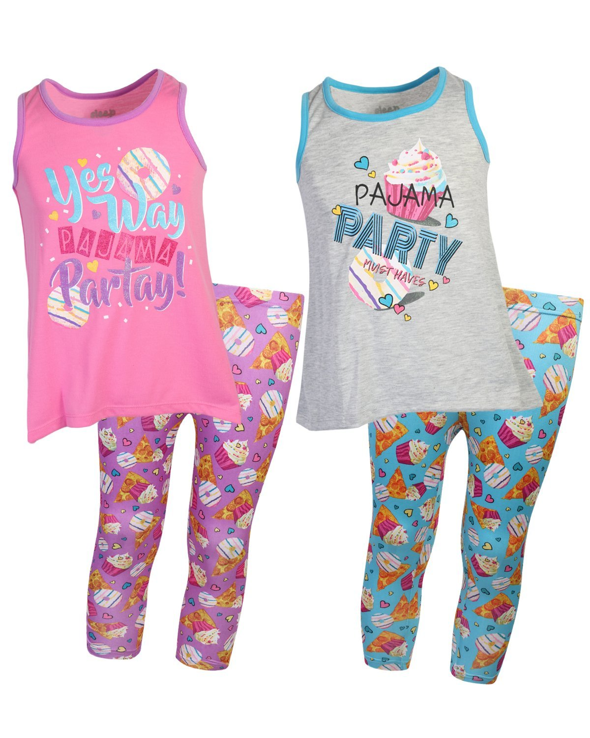Sleep On It Girls 4-Piece Tank Top and Legging Pajama (2 Full Sets) Grey/Pink, Size 10/12'
