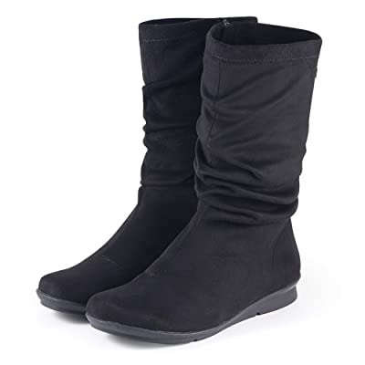 Bussola Coimbra Cynthia Women Breathable and Lightweight Stretch Zipper Mid-Calf Boots, Stain Protection and Water Repellent Shoes   Mid-Calf