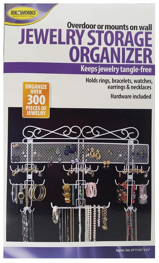 Jobar Organizing Jewelry Valet coated wire (White) (14.5''H x 23.75''W x 2.375''D)