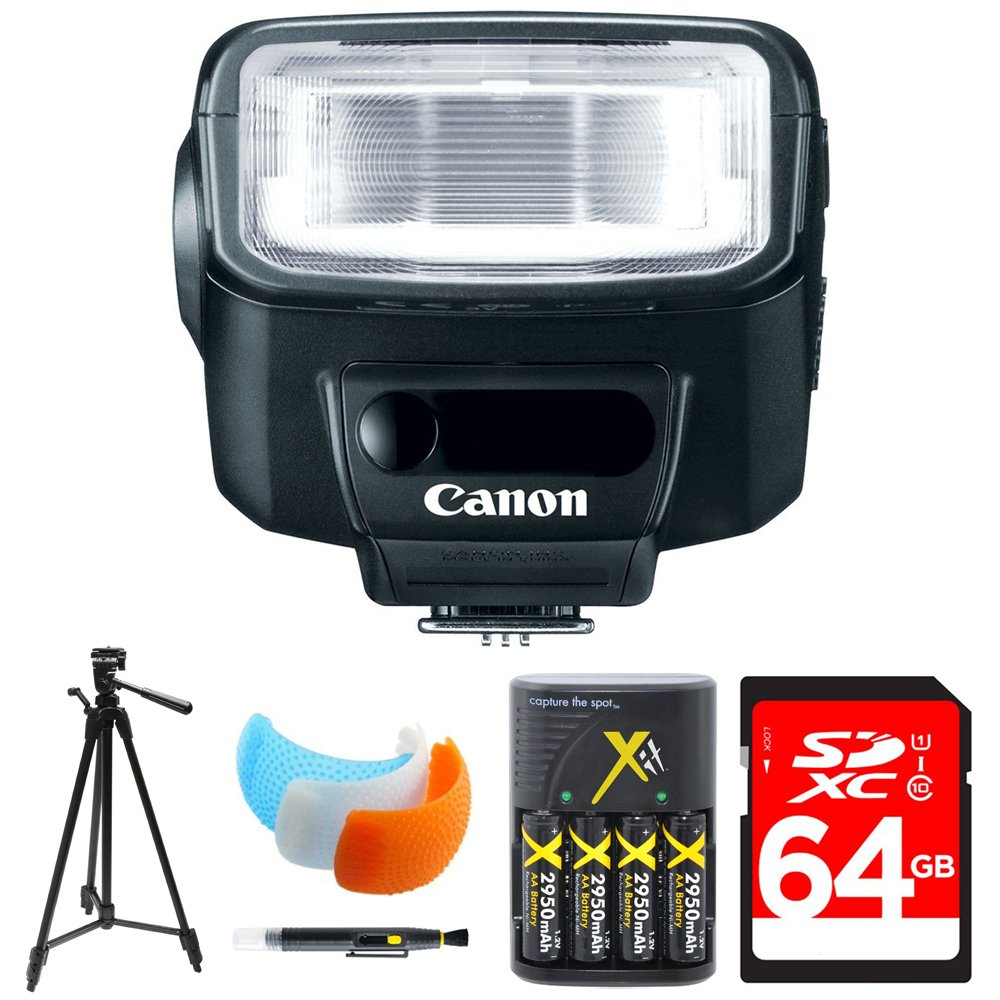 Canon Speedlite 270EX II Flash for Canon SLR Cameras (5247B002) w/ 64GB Bundle Includes, 64GB Memory Card, AA Charger w/ 4 Batteries, Tripod, Cleaning Pen & Flash Diffuser Soft Flash Cover by Beach Camera