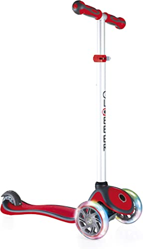 Globber -V2 3-Wheel Kids Kick Scooter – LED Light Up Wheels – Adjustable Height T-Bar – for Boys and Girls