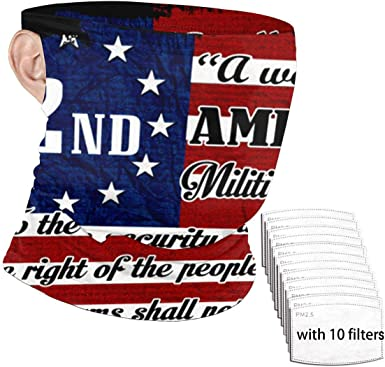 Pack of 2 Patriotic Distressed American Flag and Second Amendment Bandanas USA Made