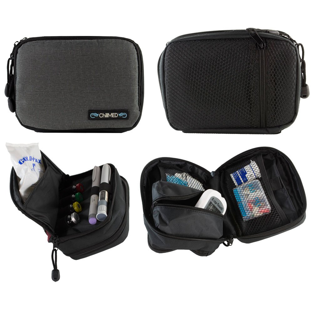 ChillMED Today Diabetic Insulin Cooler Bag Travel Case with Cold Pack (Slate Grey)