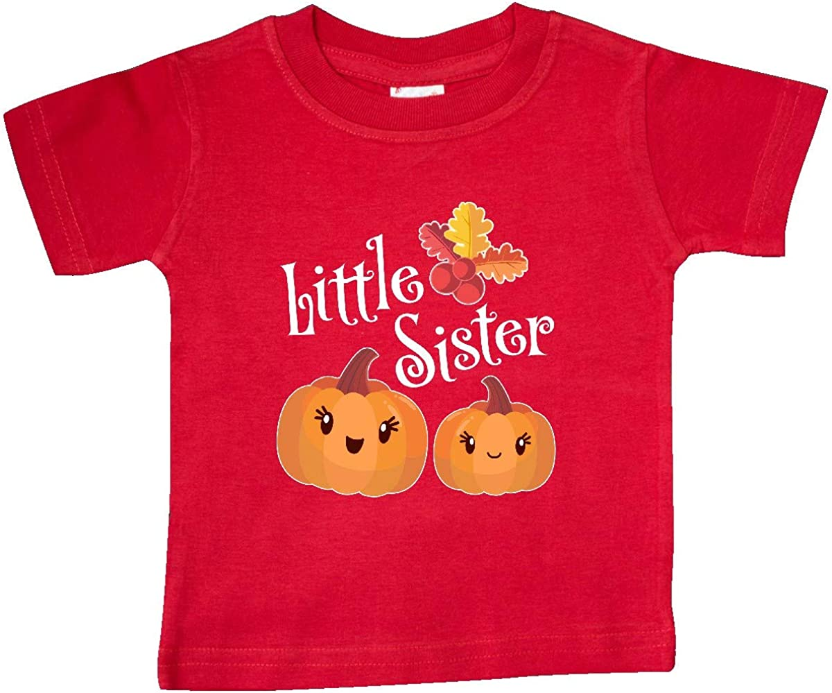 inktastic Little Sister Pumpkins with Fall Leaves Baby T-Shirt