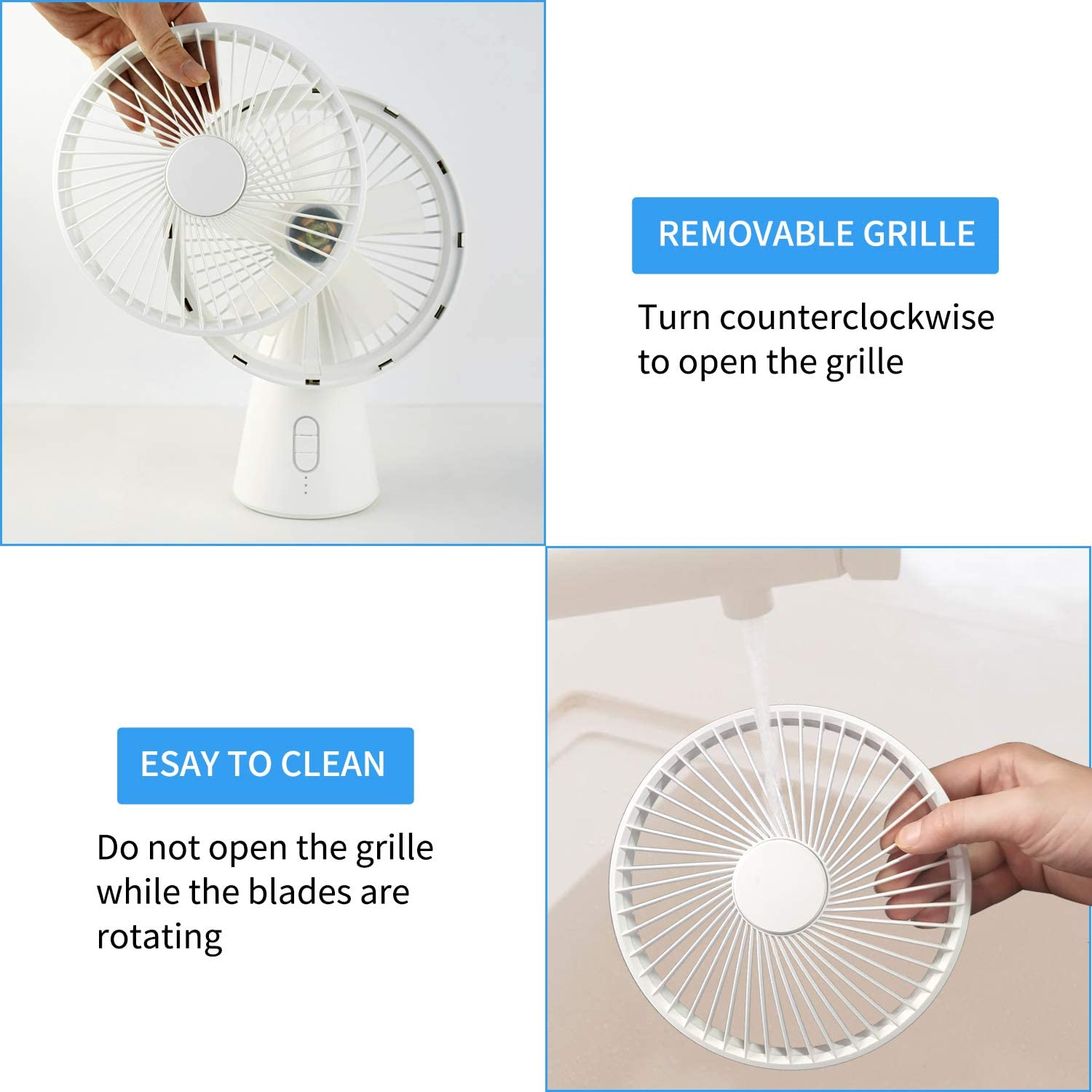 USB Air Circulator Desk Fan Oscillating Quiet Rotary Head Essential Oils Small Rechargeable Table Fan for Dorm Office for Bedroom LED Warm Light 4000mAh Battery Powered Bedroom Fans with 3 Speeds
