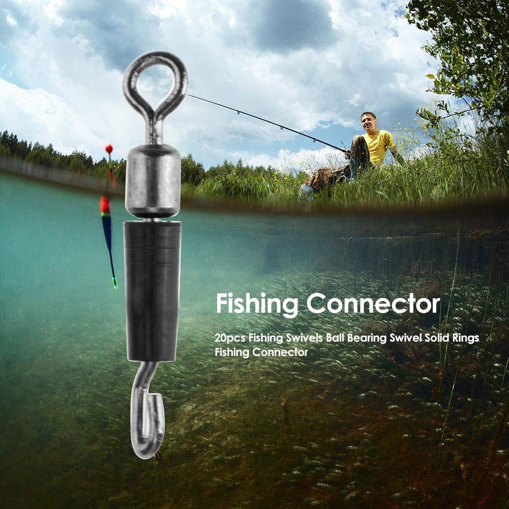 Domybest 20pcs Pesos de Pesca Conector de Pesca Anillos s/ólidos rodamiento de Bolas Accesorios de Gancho de Pesca