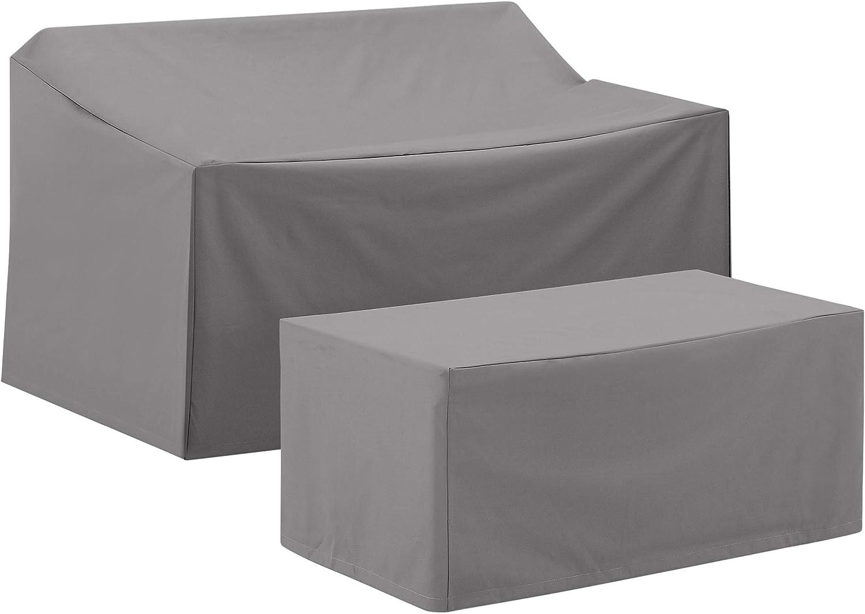 Crosley Furniture MO75001-GY Heavy-Gauge Reinforced Vinyl 2-Piece Furniture Set (Loveseat, Coffee Table), Gray