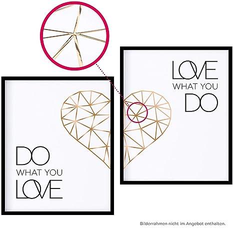 Poster Set Mit Spruch Do What You Love 40x50 Mit Herz In Rose Gold Bilder Set Xxl Typographie Wand Bild Statement Zitat Sprüche Schriftzug Liebe