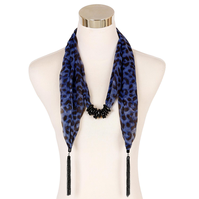 LERDU Animal Leopard Printed Chiffon Necktie Skinny Scarf with Tassel SC150454-2