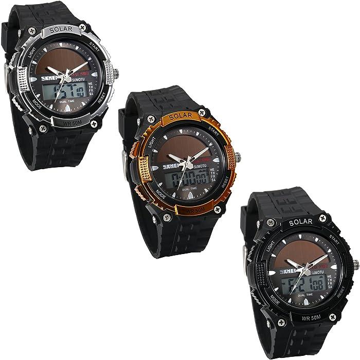 JewelryWe Reloj Deportivo Energía Solar Reloj de Hombre Digital para Aire Libre A Prueba de Agua 5 ATM, Tiempo Dual Reloj Digital Analógico con Luz del ...