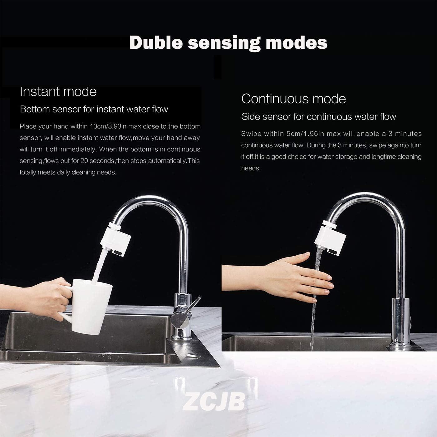 ZCJB adaptador de grifo sin contacto inteligente sensor grifo para cocina ba/ño sensor infrarrojo autom/ático con protecci/ón anti-desbordamiento f/ácil de instalar
