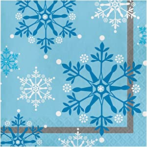Creative Converting 317148 16 Count Paper Lunch Napkins, Snowflake Swirls