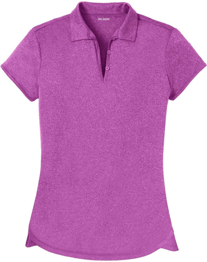 Joe's USA DRI-Equip(tm) Ladies Heathered Moisture Wicking Golf Polo-Berry-XL