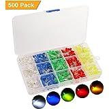 KINGSO 500 pezzi Diodo ad emissione luminosa LED,diodi emettitori di luce, 5 colori, testa rotonda diametro 5mm