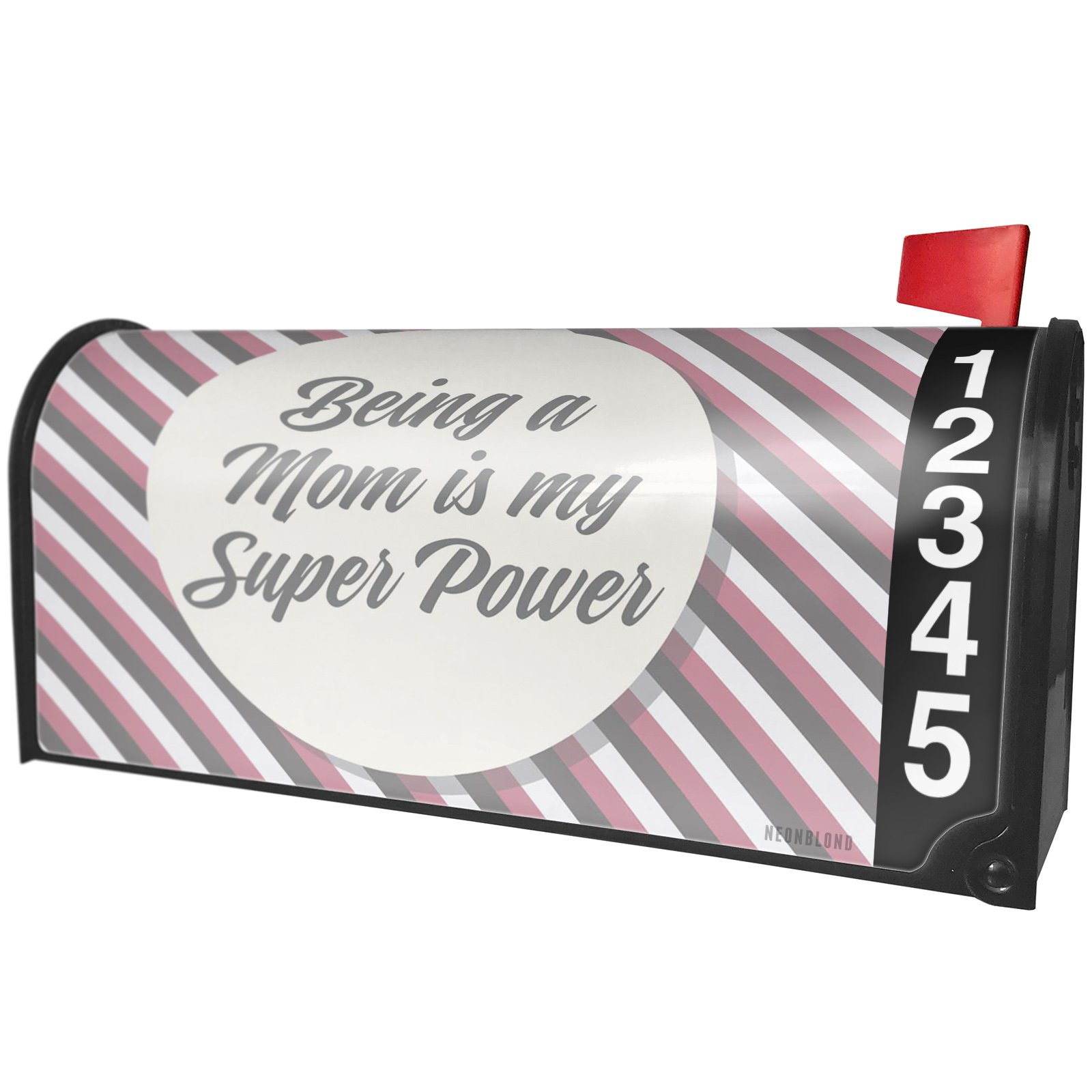 NEONBLOND Being a Mom is My Super Power Mother's Day Pink and Grey Stripes Magnetic Mailbox Cover Custom Numbers