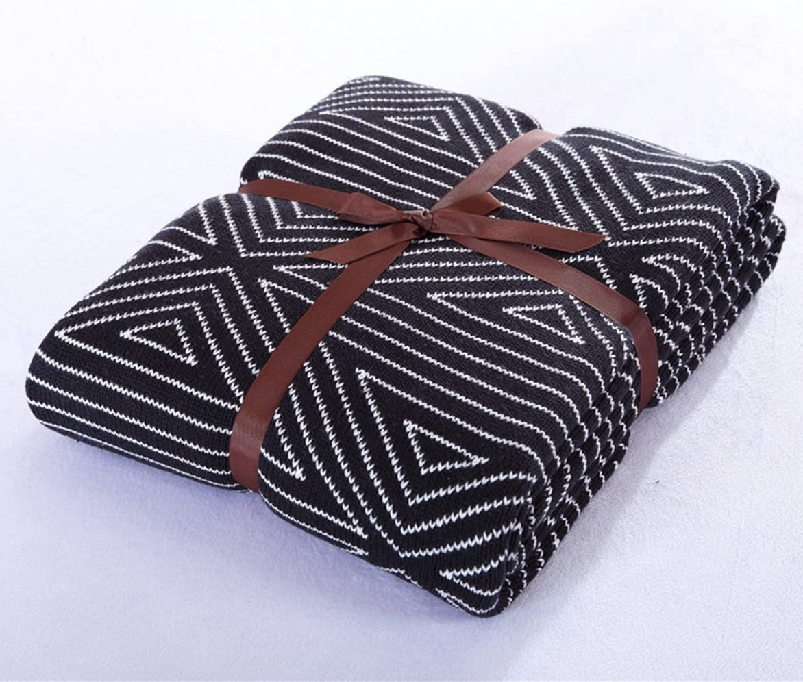 100% Cotton Throw Blanket, Stylish While Classic Pattern, Natural Soft & Cozy Throws for Bed Couch/Sofa/Bed/Picnic