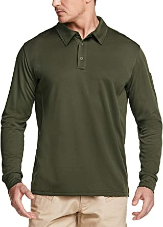 CQR Men's Long Sleeve Tactical Work Shirts, Dry Fit Lightweight Polo Shirts, Outdoor Performance UPF 50 Collared Shirt