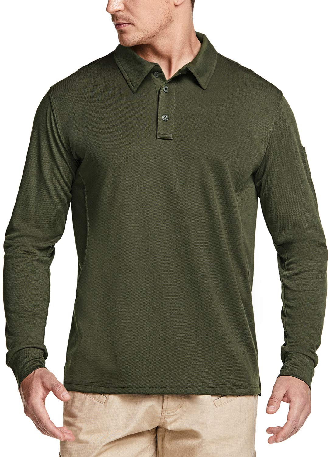 CQR Men's Long Sleeve Tactical Work Shirts Dry Fit Lightweight Polo Shirts Outdoor Performance UPF 50+ Collared Shirt