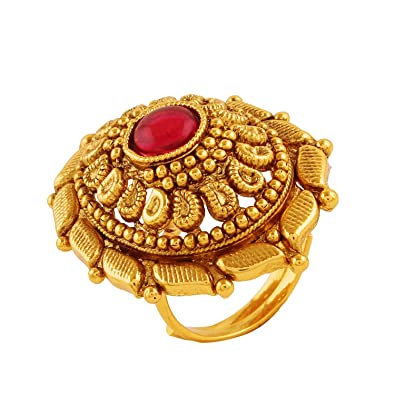 a2f4f92894b5a AccessHer Antique Gold Plated Finger Ring with Ruby for Women