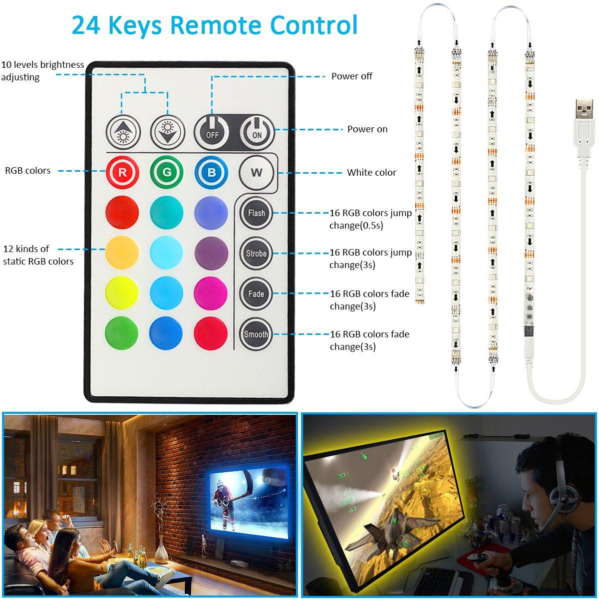 TV Lichter USB LED Fernseher Beleuchtung Streifen Licht für 65 70 ...