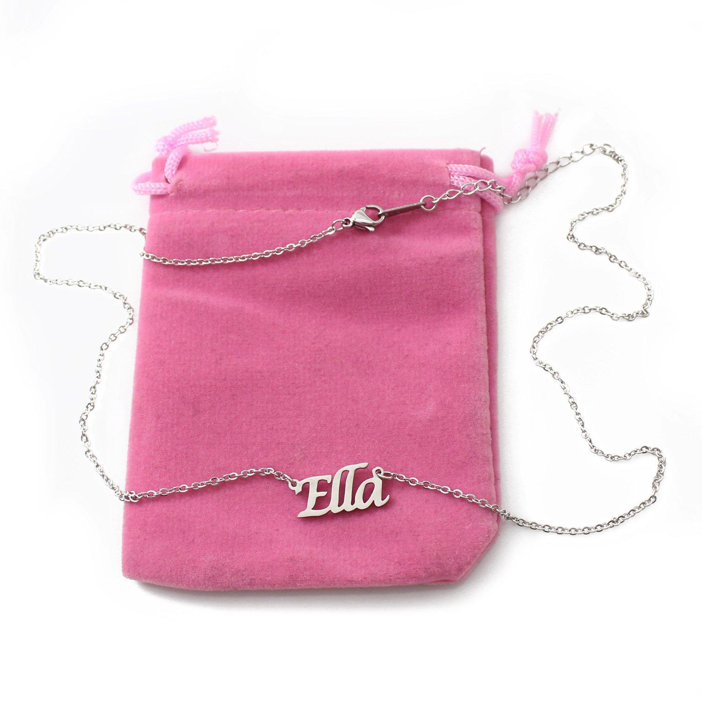 Zacria Ella Silver Tone Name Necklace