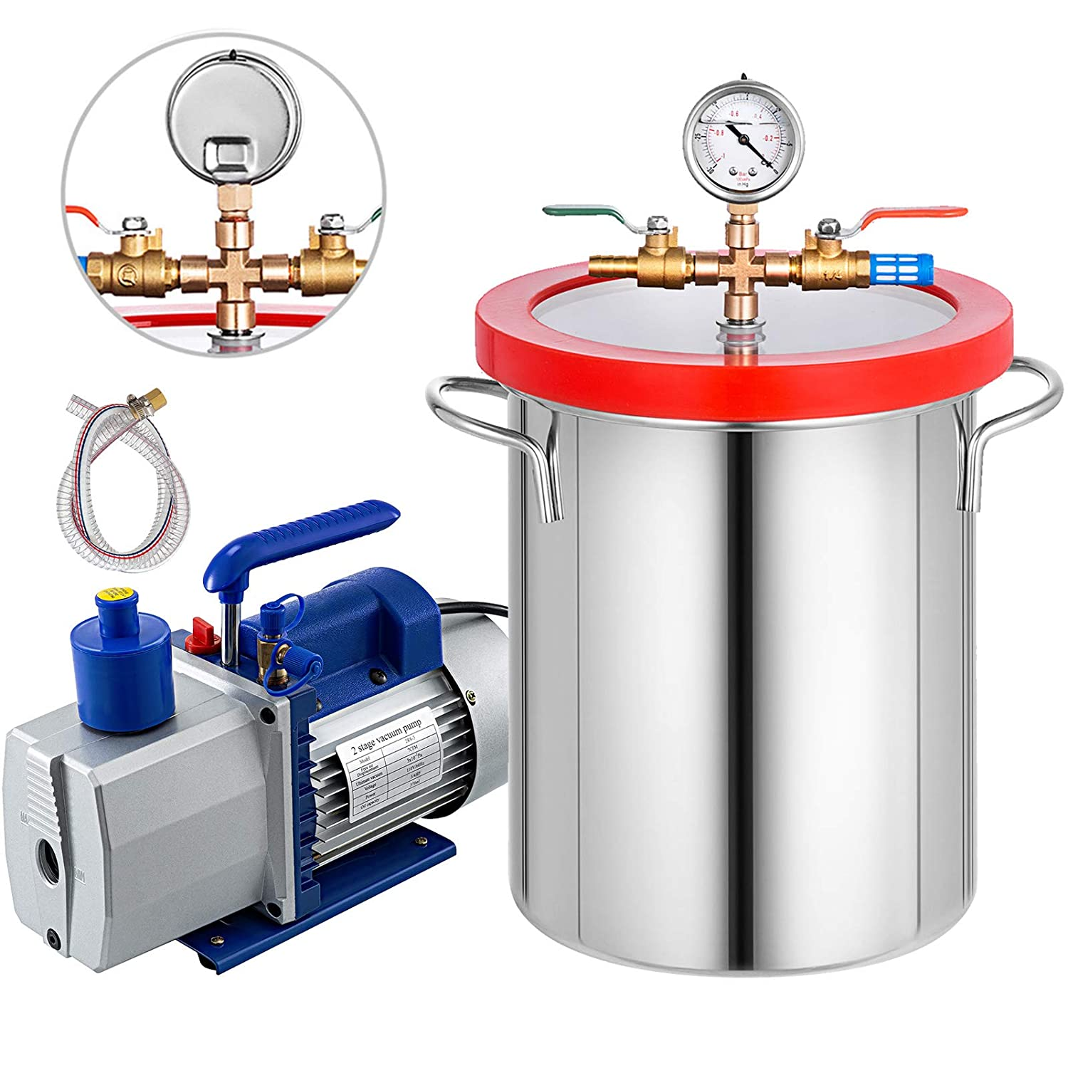 Bestauto 5 Gallon Vacuum Degassing Chamber Kit Stainless Steel with 2 Stage 7CFM 1/2 HP Vacuum Pump