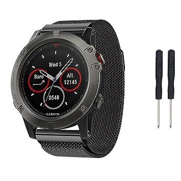 Garmin Fenix 5X reloj banda, Topten Milanese Loop Acero Inoxidable Reemplazo Banda de Muñeca Correa Pulsera con cierre magnético fuerte para Garmin Fenix 5X ...