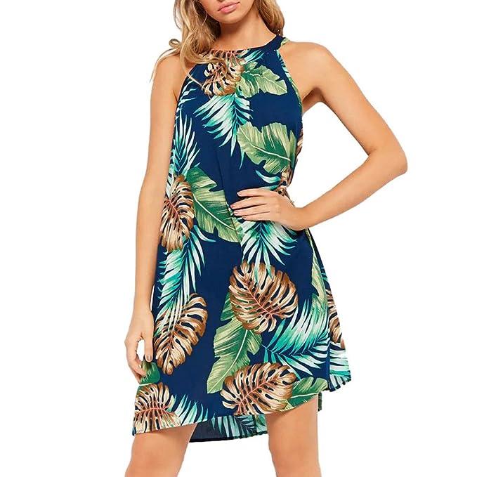 Vestiti Lungo Donna Elegante LandFox Sexy Abito a maniche lunghe da  spiaggia senza maniche con stampa fe6b9d58581