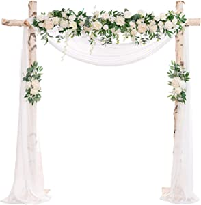 Ling's moment Artificial Flower Arch Decor with Sheer Drape (Set of 3) for Wedding Ceremony Aobor and Reception Backdrop Floral Arrangement Decor