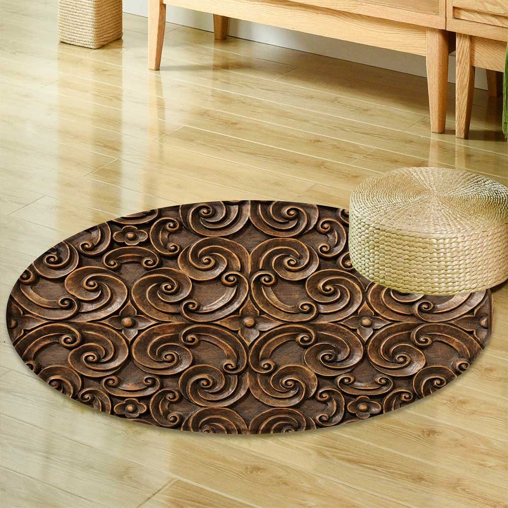 Small round rug Carpet wood thai pattern handmade wood carvings chiangmai thailand  door mat indoors Bathroom Mats  Non Slip -Round 35'' by PRUNUSHOME