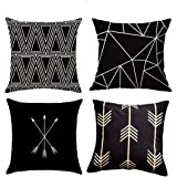 Pack of 4 MOCOFO Both Sides Soft Canvas Throw Pillow Covers Cases for Couch Sofa Home Car Decor,Black and Beige Geometry,18 x 18 Inches