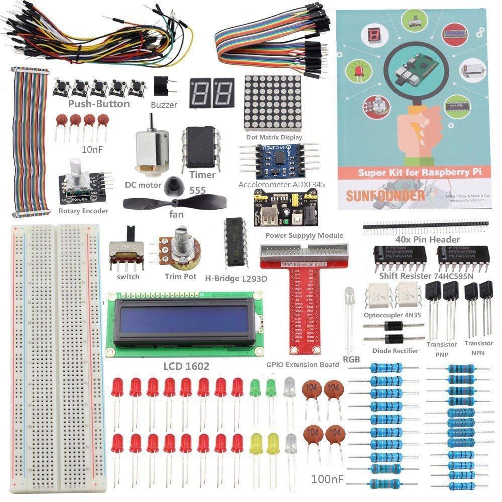 SunFounder Raspberry Pi 3 Model B+ Starter Kit Project Super Kit for RPi 3B+ 3B 2B B+ A+ Zero Including GPIO Breakout Board Breadboard LCD DC Motor LED RGB Dot Matrix 73 Page Manual User Guide