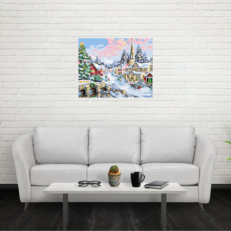 Digital bricolaje Navidad paisaje pintura al óleo cuadro por números en lienzo de lino de Navidad decoración de pared de arte (40 x 50 cm/15.75 x 19.69 ...
