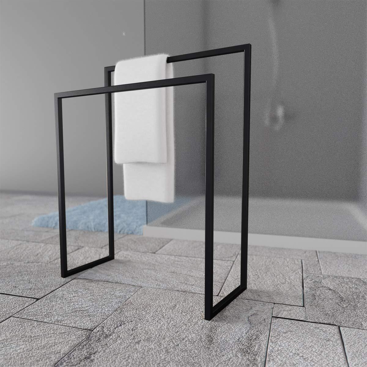 HOLZBRINK Metall Handtuchhalter für Badezimmer Badezimmer Badezimmer Kleiderständer Freistehender Handtuchständer mit 2 Stangen, Tiefschwarz, 72x60x20 cm (HxBxT), HLMH-01-72-60-9005 B07P9QZM6T Handtuchstnder 52cc2f
