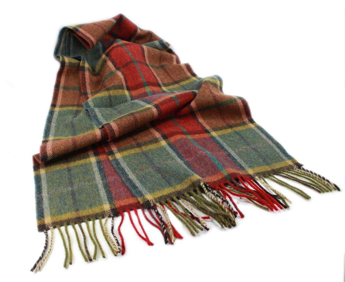 Biddy Murphy Plaid Wool Scarf Unisex 63'' x 12'' Earthtone Made in Ireland