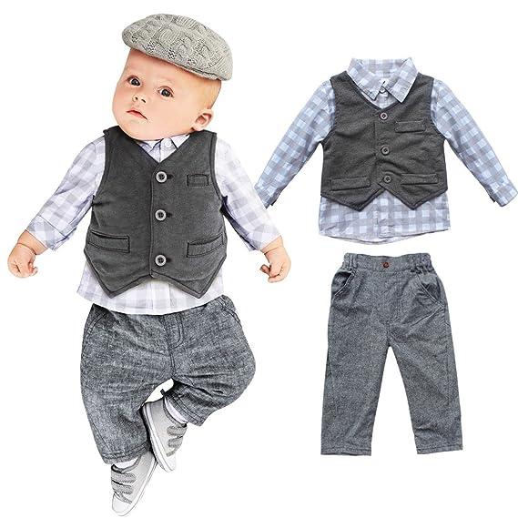 IEFIEL 3pcs Traje de Fiesta Boda Bautizo para Bebé Niño Camisa Manga Larga Chaleco Pantalones Ropa Formal para Recien Nacido