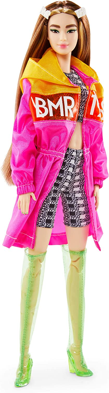 COAT ~BARBIE DOLL CURVY MADE TO MOVE BMR1959 WHITE CLEAR VINYL LOGO PRINT JACKET