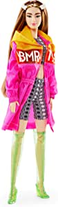 Barbie BMR1959 Fully Poseable Fashion Doll (Tall Brunette, 12.5-inch) Wearing Color Block Windbreaker, Bike Shorts and Vinyl Boots, with Doll Stand