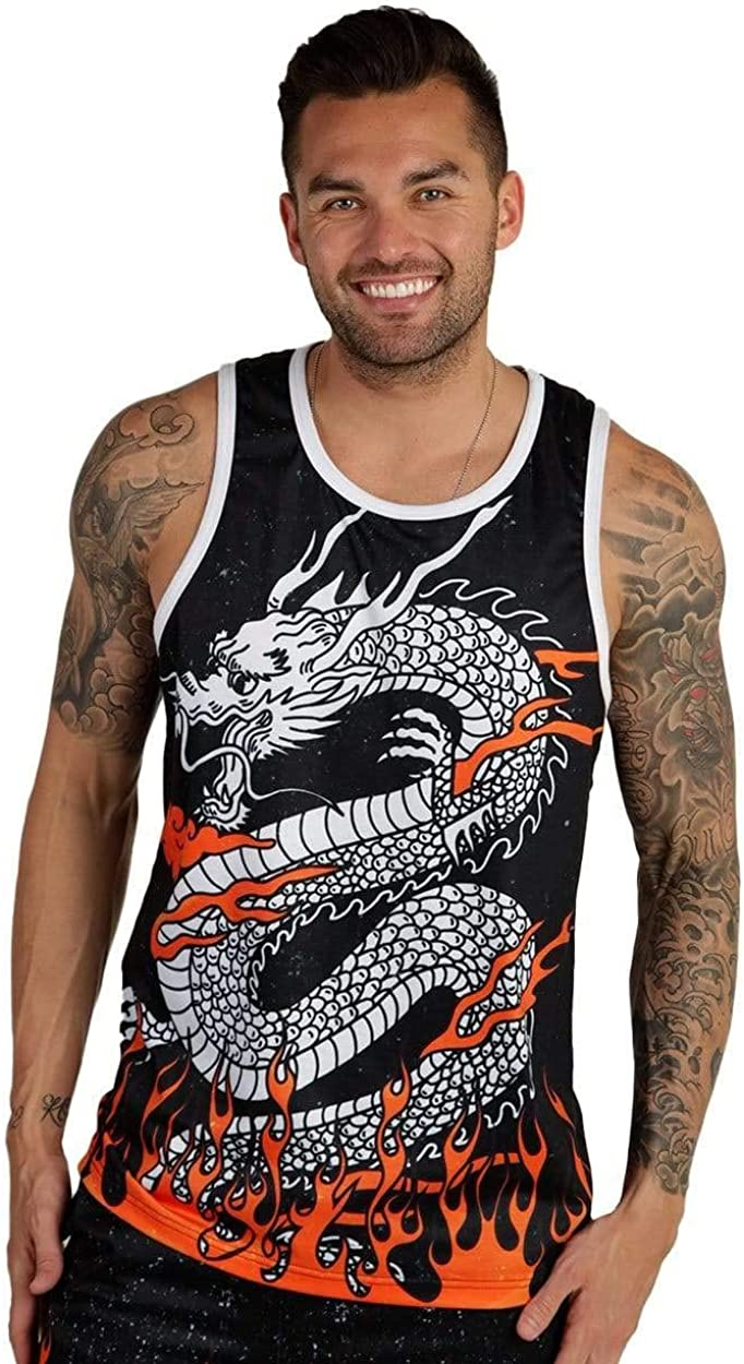 INTO THE AM Men's Vibrant All Over Print Sleeveless Tank Top Shirts