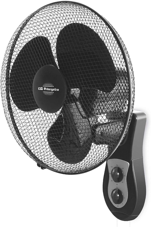 Orbegozo Ventilador de Pared WF 0141. Tamaño de aspas 40 cm. 3 velocidades de ventilación. Cabezal oscilante multiorientable, de posición Fija u oscilante. Rejilla de Seguridad. Potencia 40 W