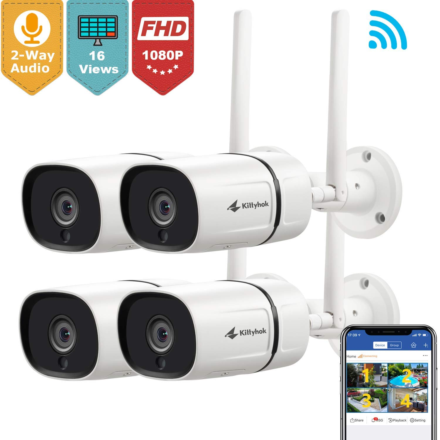 Kittyhok Outdoor Wireless Security Camera, 1080P Full HD 2.4GHz WiFi IP Bullet Cameras with Two-Way Audio Motion Detection Night Vision Ip65 Weatherproof Remote Surveillance Monitor 4-Pack