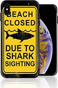 Designed for iPhone X, Beach Closed Due to The Shark Sighting Shock Absorption Bumper Soft TPU Cover Case for iPhone X