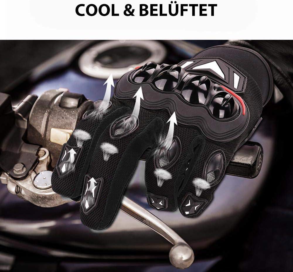 ISSYZONE Motorrad Handschuhe Sport Handschuhe Touchscreen Handschuhe Warm Atmungsaktiv Anti RutschFahrad Handschuhe Sommerhandschuhen Rot, M