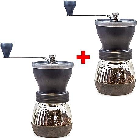 Cocina Gadget Portátil Coffee Grinder 2 Pack - cónica de las rebabas de cerámica - Debido Frijoles Mano café molido saben mejor, Grind Infinitamente ajustable, tarro de cristal, acero inoxidable const: Amazon.es: Hogar