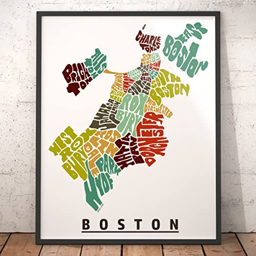 Amazoncom BOSTON Neighborhood Map Art Print Unique Boston Decor - Boston neighborhood map