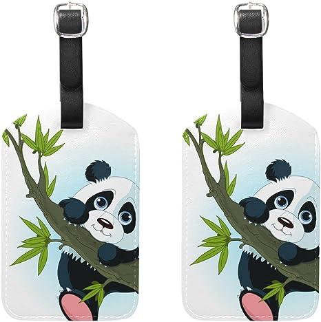 COOSUN Panda g/éant Accrobranches Etiquettes de Bagages Etiquettes Voyage Nom Tag Porte-Cartes pour Les Bagages Valise Sacs /à Dos Sac 2 PCS Moyen Multicolore