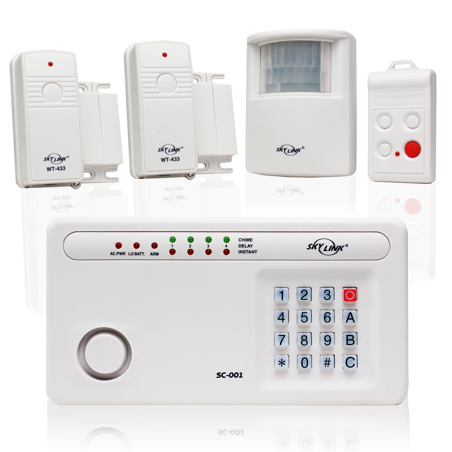 Skylink SC-100W Wireless Deluxe Home & Office Burglar Alarm System Alert Security Package | Affordable, Easy to Install DIY