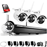 ANNKE WIFI NVR 4CH 1080P Wireless Security Camera Systems with 1TB HDD and (4) Outdoor 960P HD Weatherproof Surveillance CCTV Bullet Camera,Night Vision Plug and Play