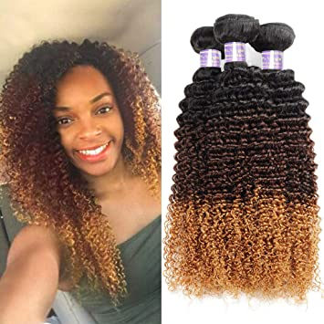 6bb0ed89c Allove Hair 10a Brazilian Ombre Curly Hair Bundles 3 Bundles Virgin Remy  Hair 3Tone Ombre Color